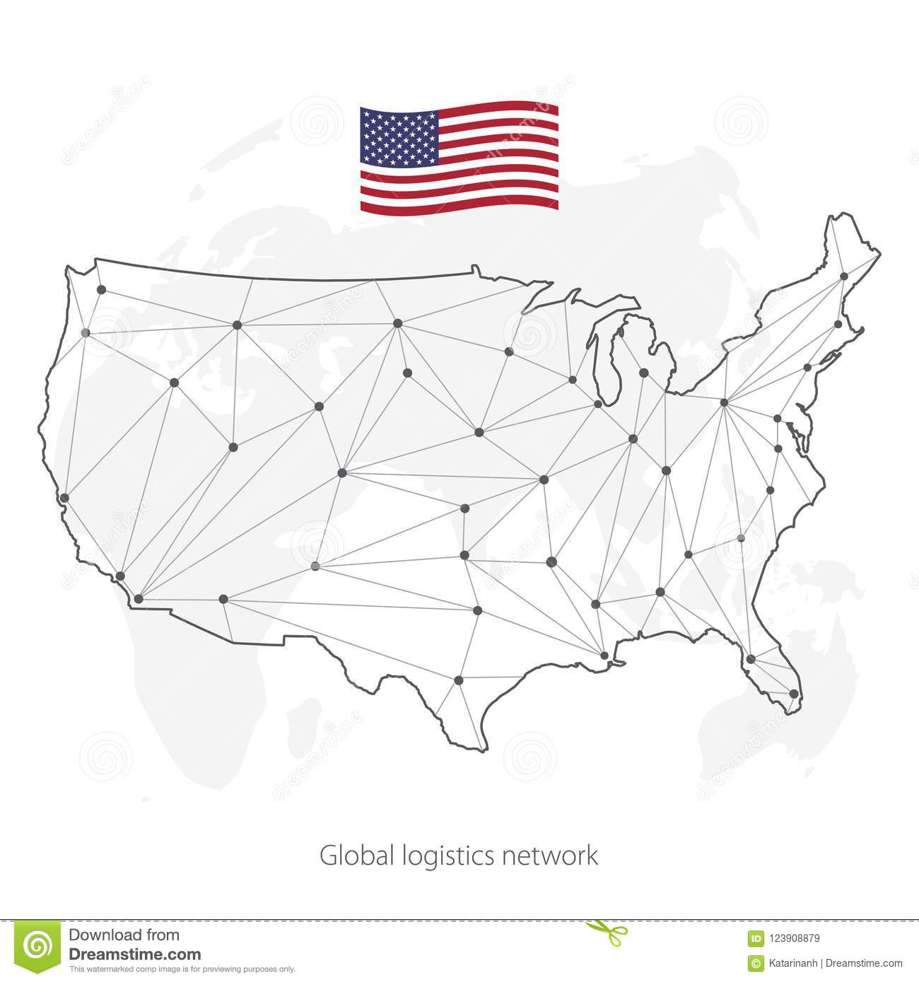 global logistics network concept communications network map of the