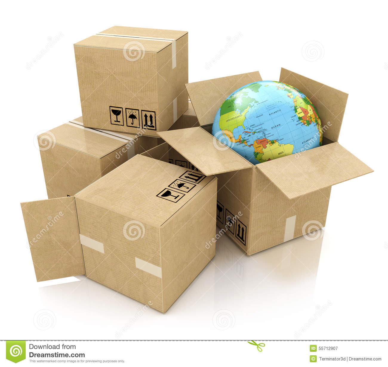 Global logistics, shipping and worldwide delivery business concept: Earth planet globe and heap of stacked corrugated cardboard b