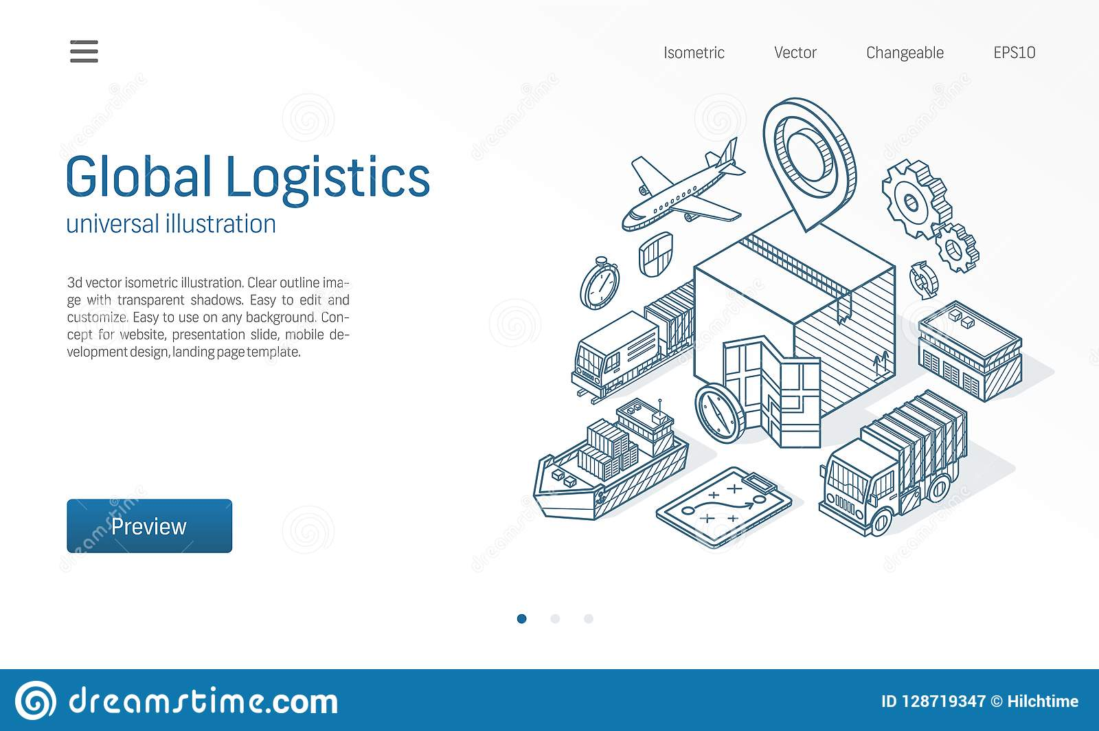 Global logistisk tjänste- modern isometrisk linje illustration Exportera, importera, warehouse affären, transport skissar utdrage