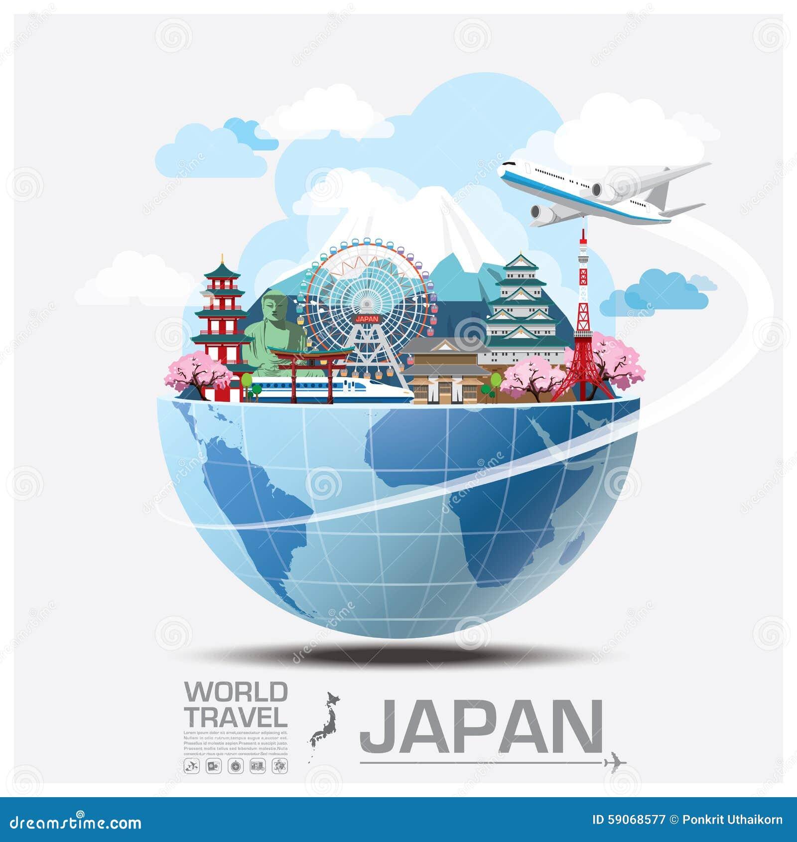 Global lopp och resa Infographic för Japan gränsmärke