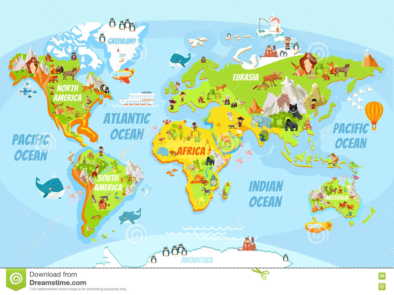 Map Of Australia Funny.Global Map With Cartoon Animals Stock Vector Illustration Of