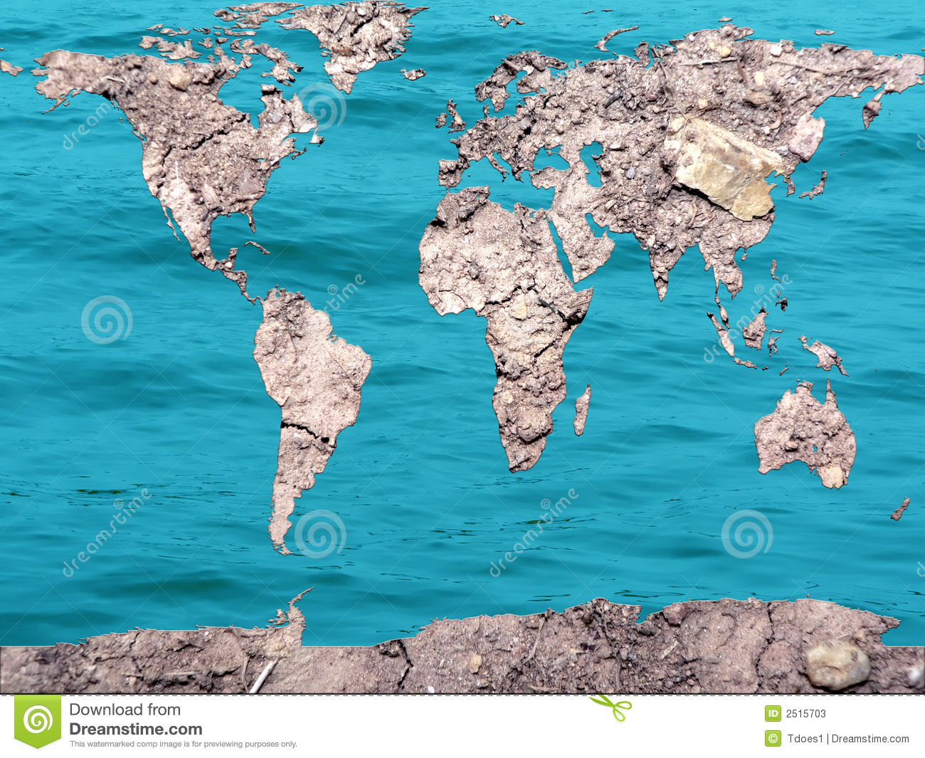 Global Map Dry And Flooded Stock Image Image Of Surrealism 2515703