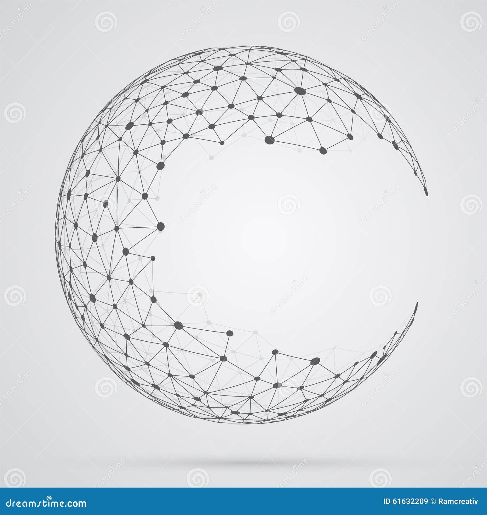 Global mesh sphere. Abstract geometric shape