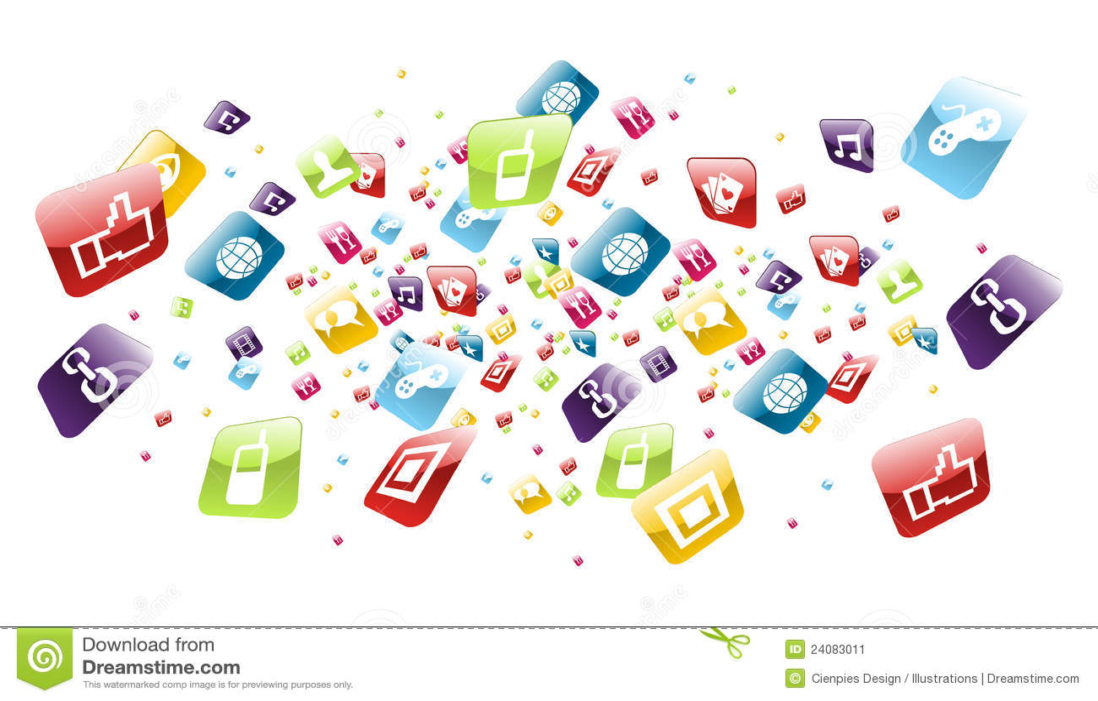 Global Mobile Phone Apps Icons Splash Stock Vector
