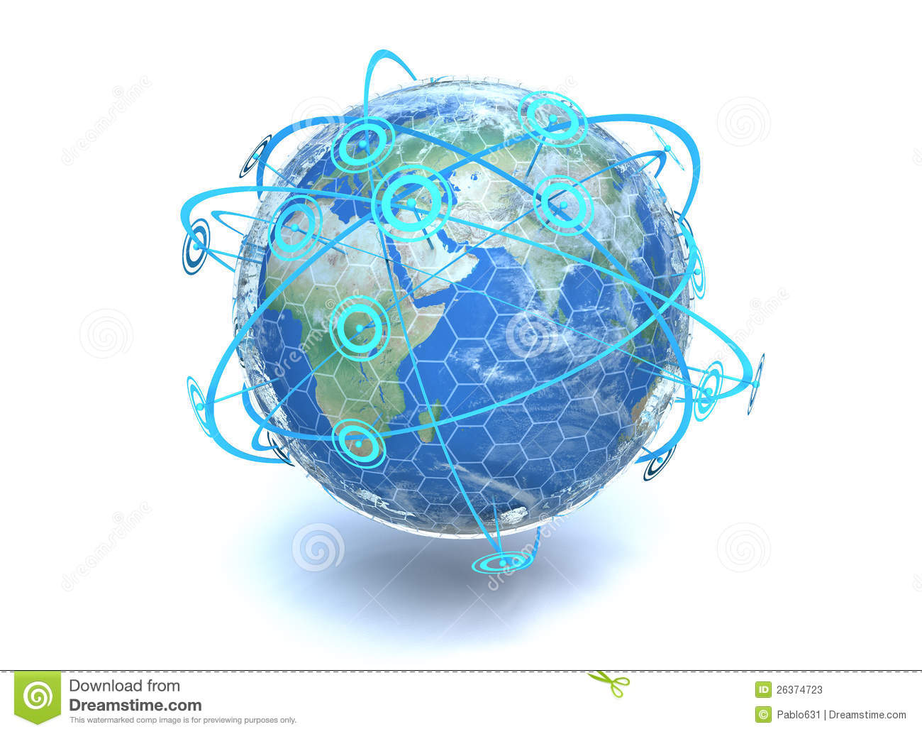 earth showing crossing network communication lines around the globe