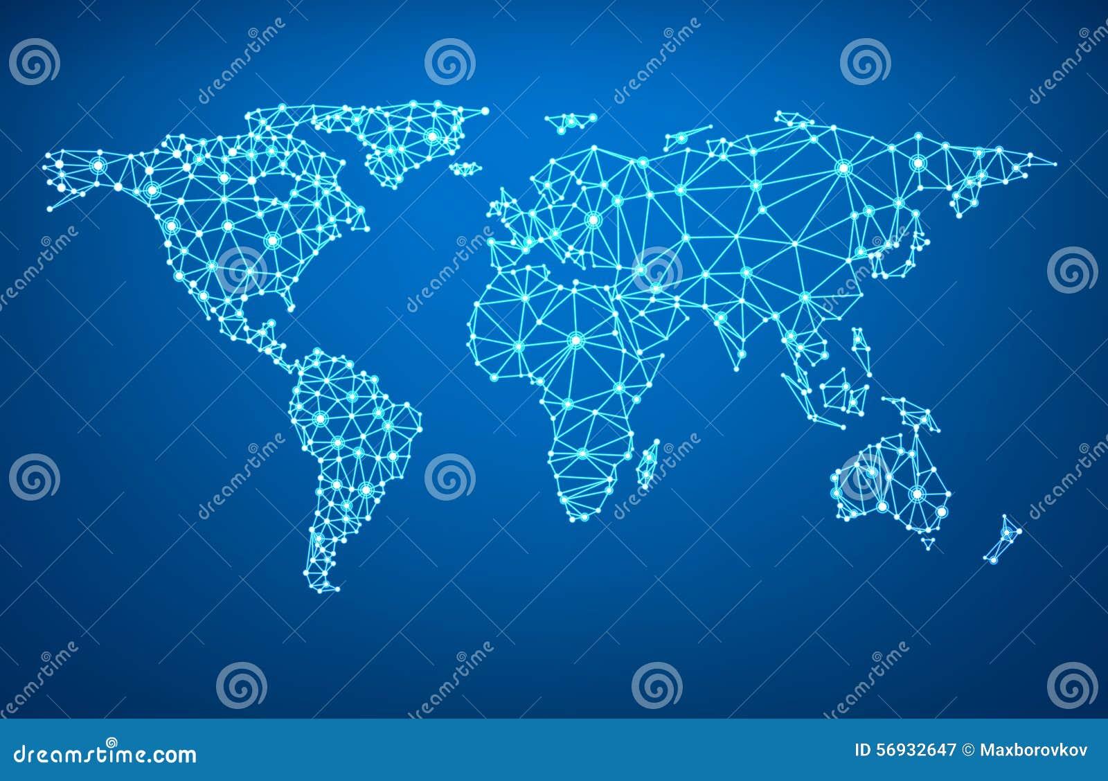 Global Network Mesh Earth Map Vector Image 56932647 – Erth Map