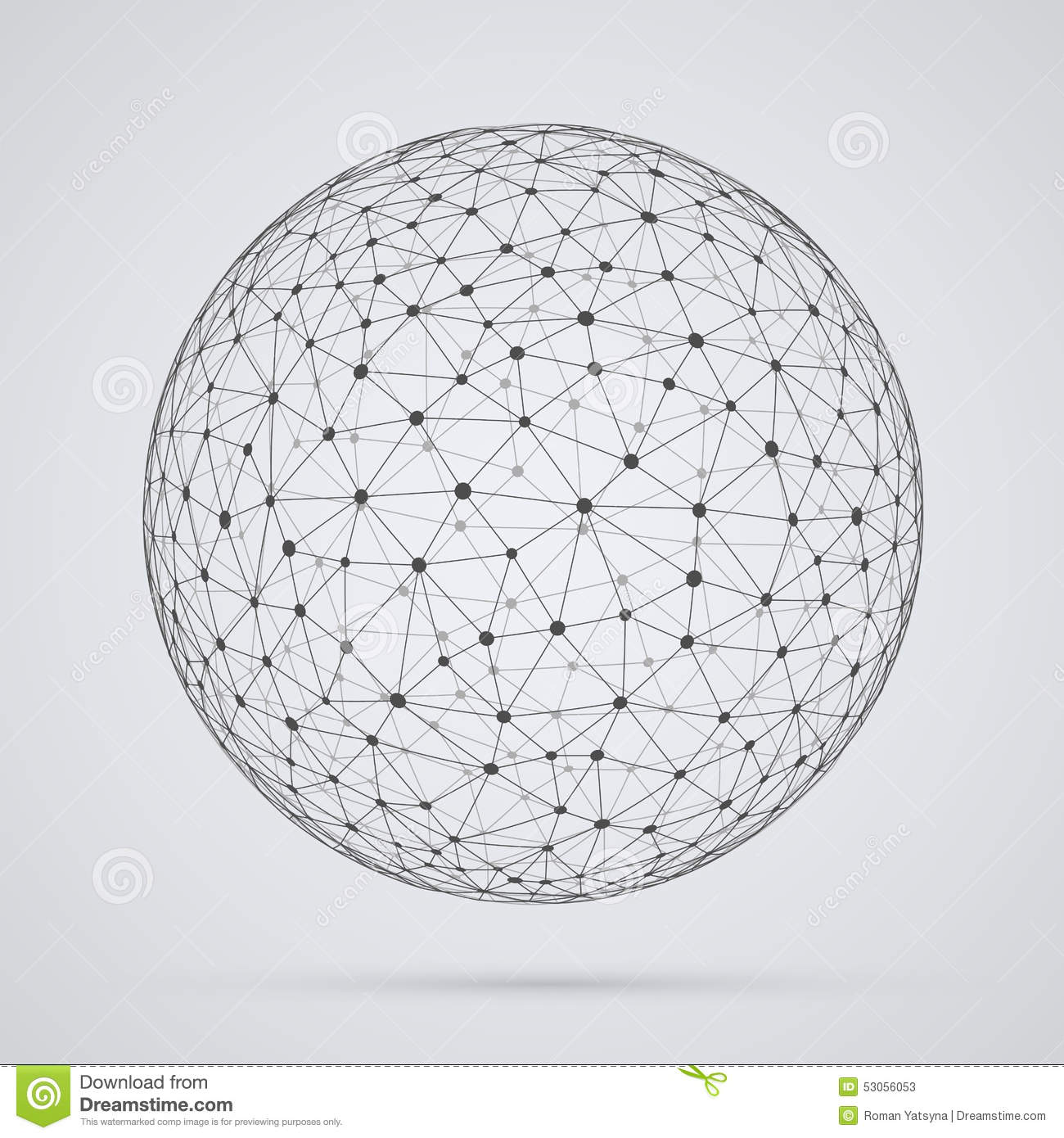 global network sphere abstract geometric spherical shape with