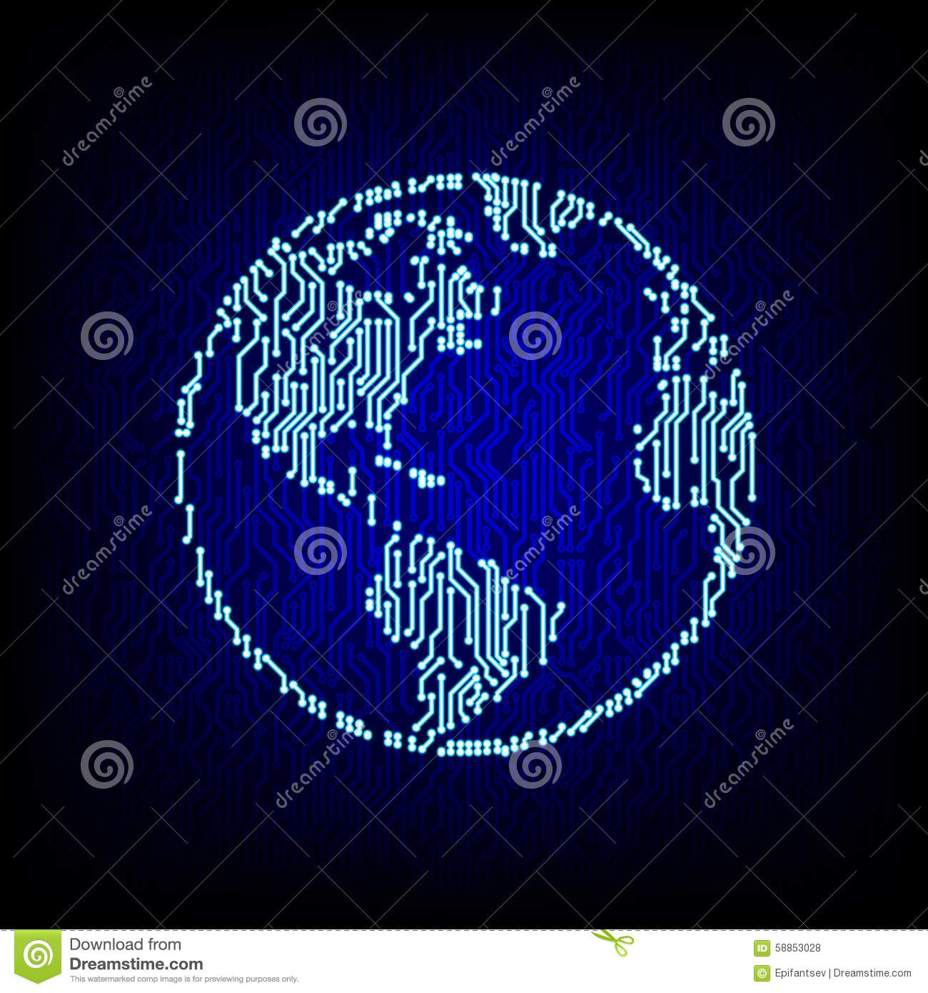 global networking concept circuit board globe vector illustration stock vector image