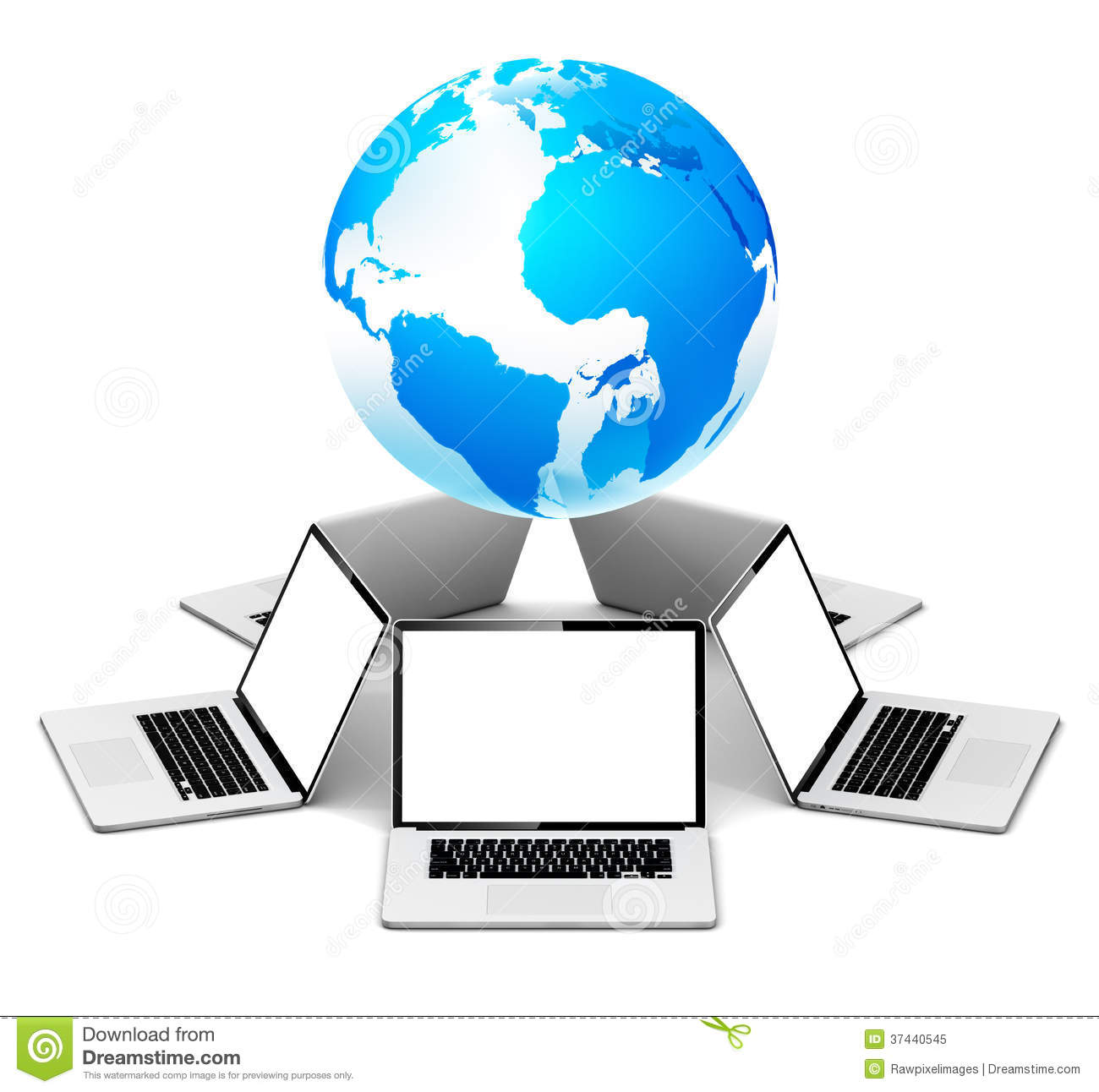 Global Networking With Laptop Stock Illustration Illustration Of
