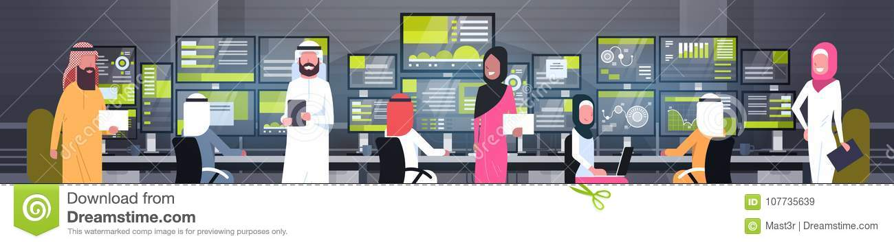 Global Online Trading Concept Arab People Group Working With Stock Exchange Monitoring Sales Horizontal Banner
