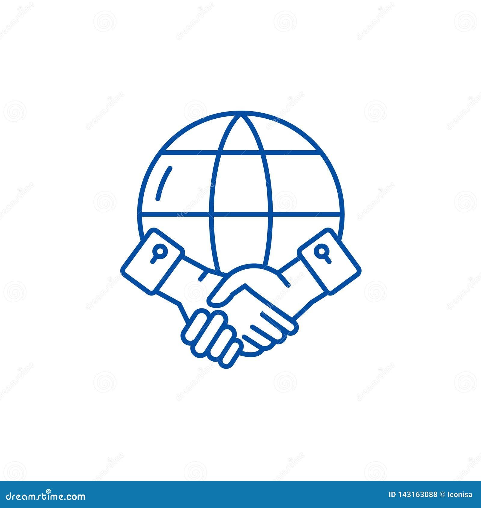 Global partnerskaplinje symbolsbegrepp Plant vektorsymbol för globalt partnerskap, tecken, översiktsillustration