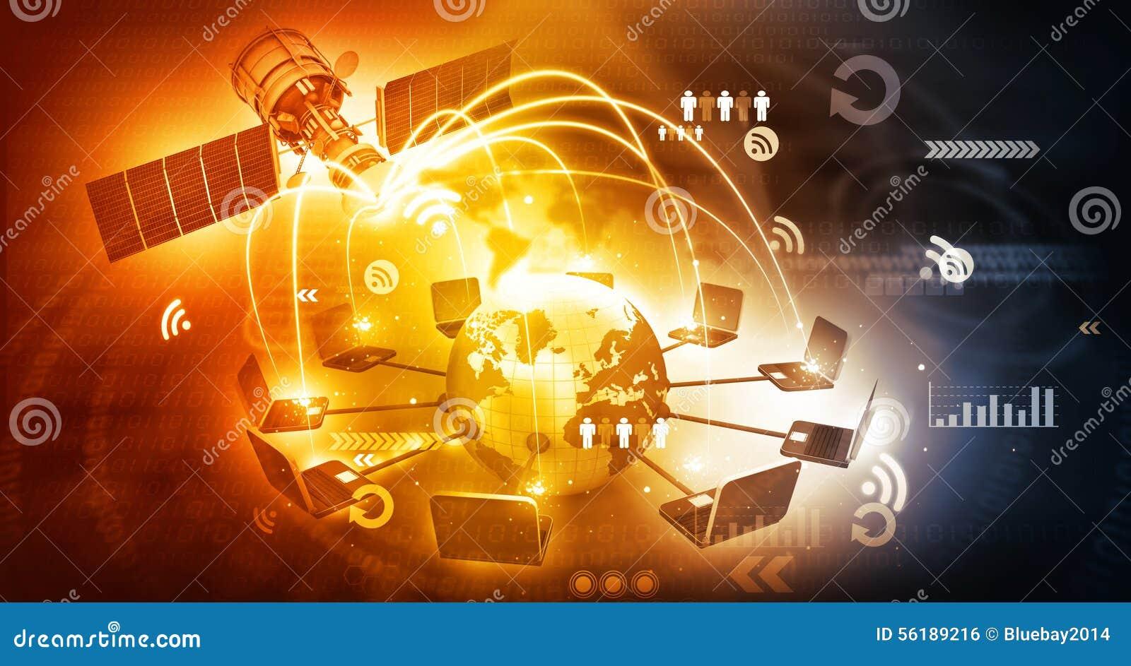 Global Satellite Telecommunication Stock Photo Image