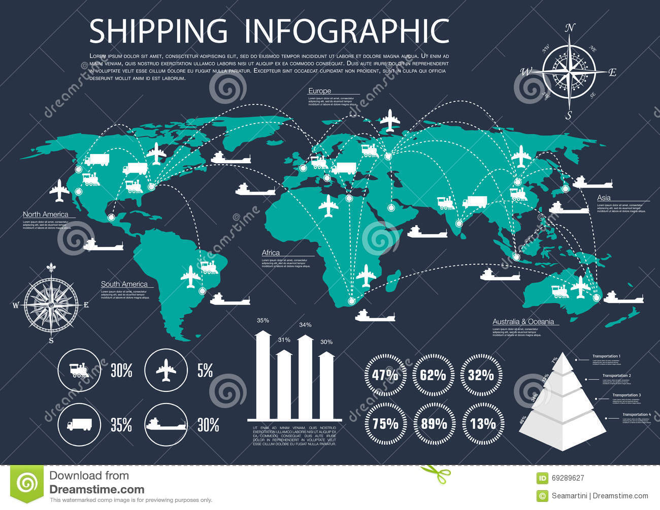 Global Shipping And Logistics Infographics Stock Vector