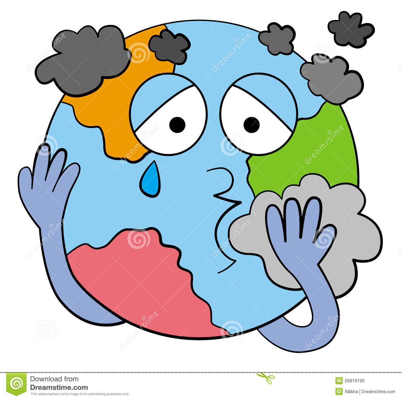 cartoon planet earth with a face, coughing while surrounded by smoke ...