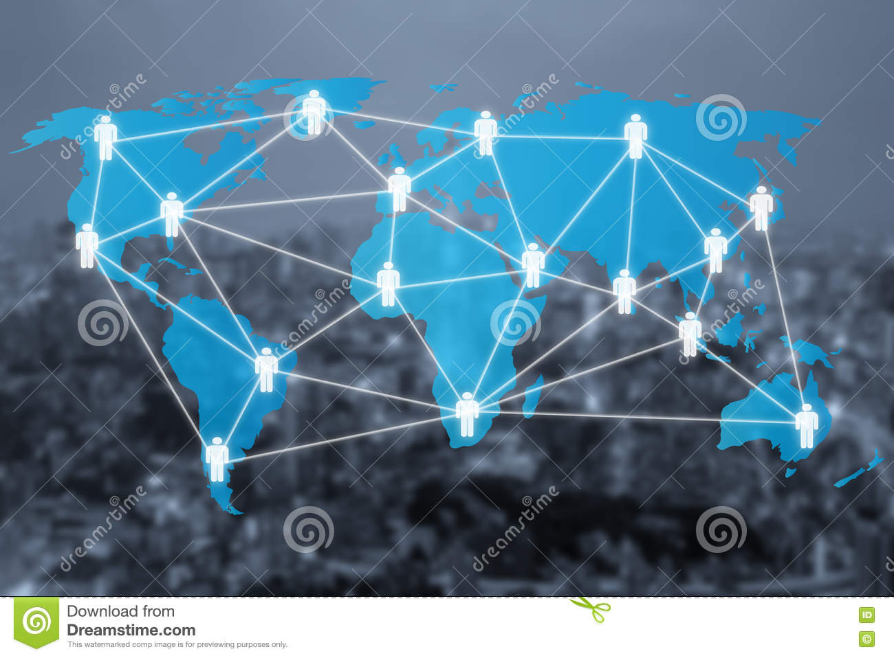 Global Social Network Or People Management Connection Diagram Stock ...
