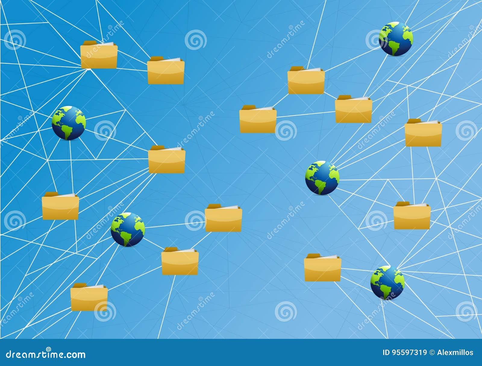 Global Storage Network Link Diagram Stock Image