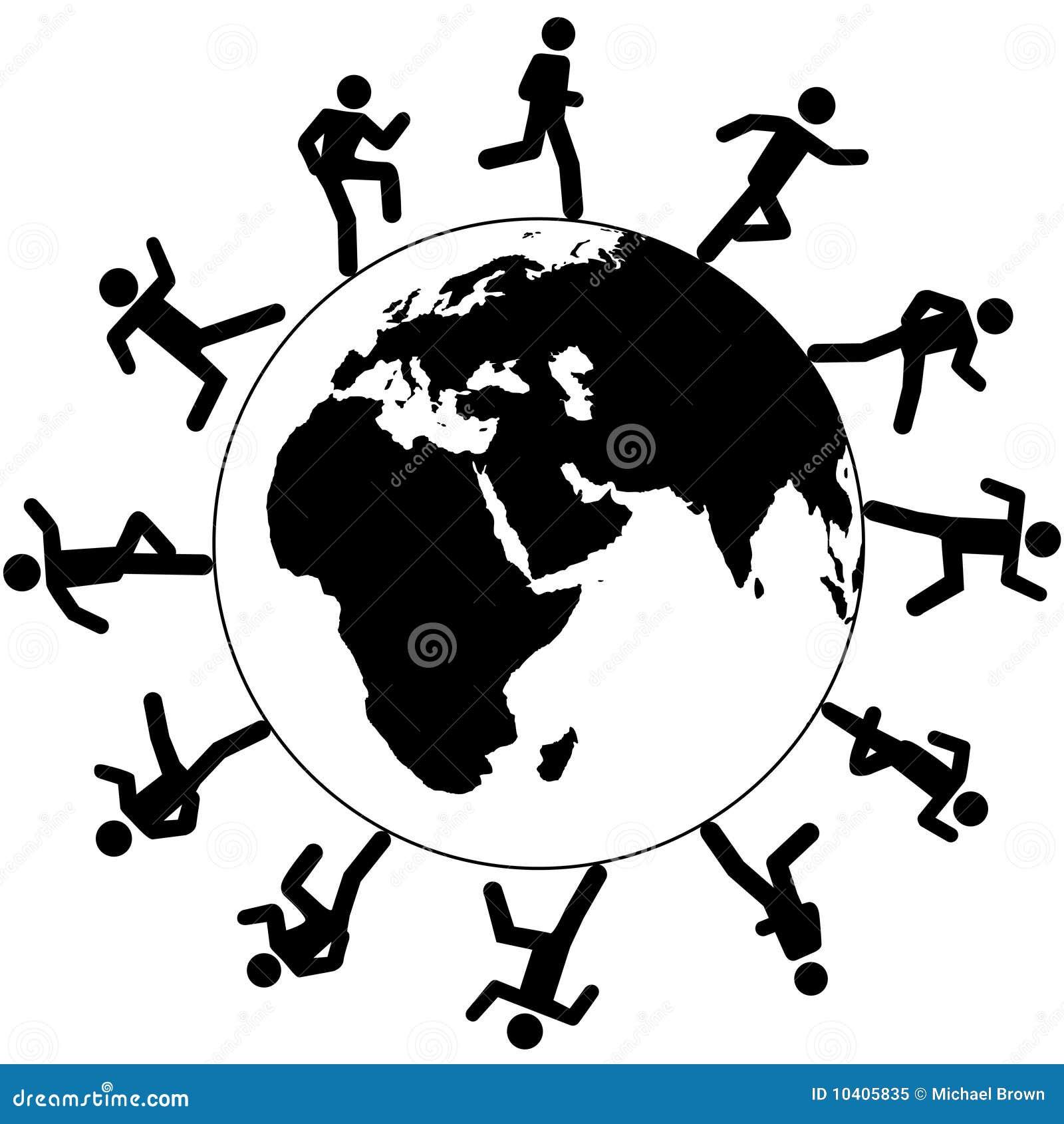 Global Symbol People Run Around The World Stock Vector
