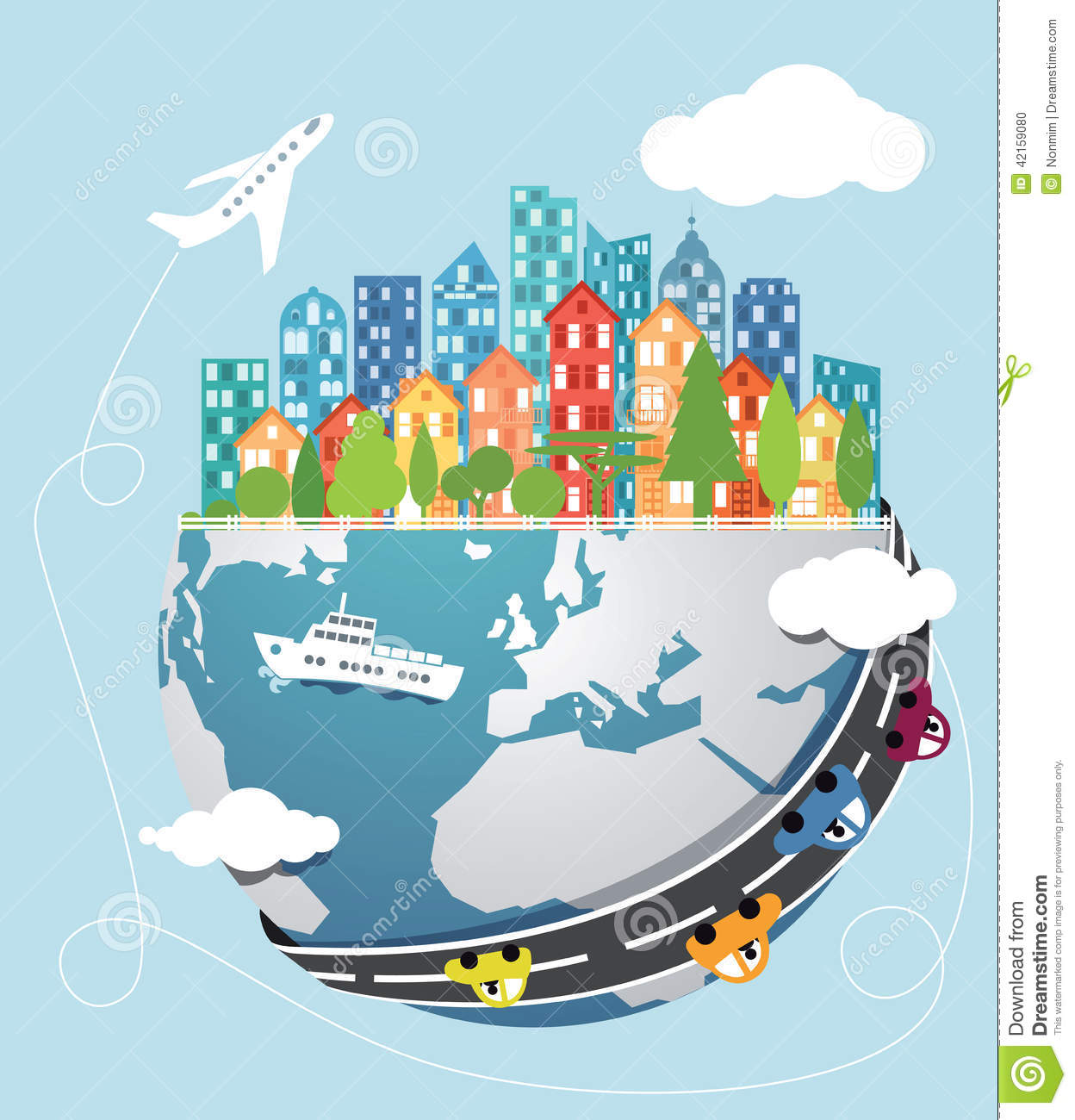 Global Transportation Stock Vector Image 42159080