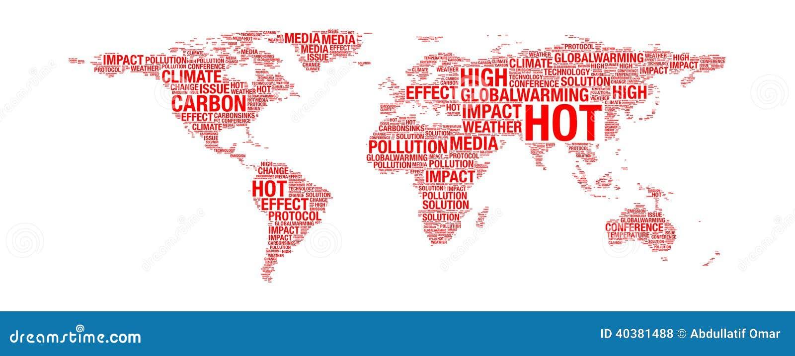 Global Warming Concept Map.Global Warming Concept On World Map Stock Illustration