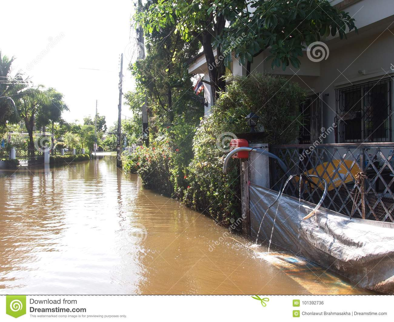 Global warming effect in town, low level flood water in urban zone