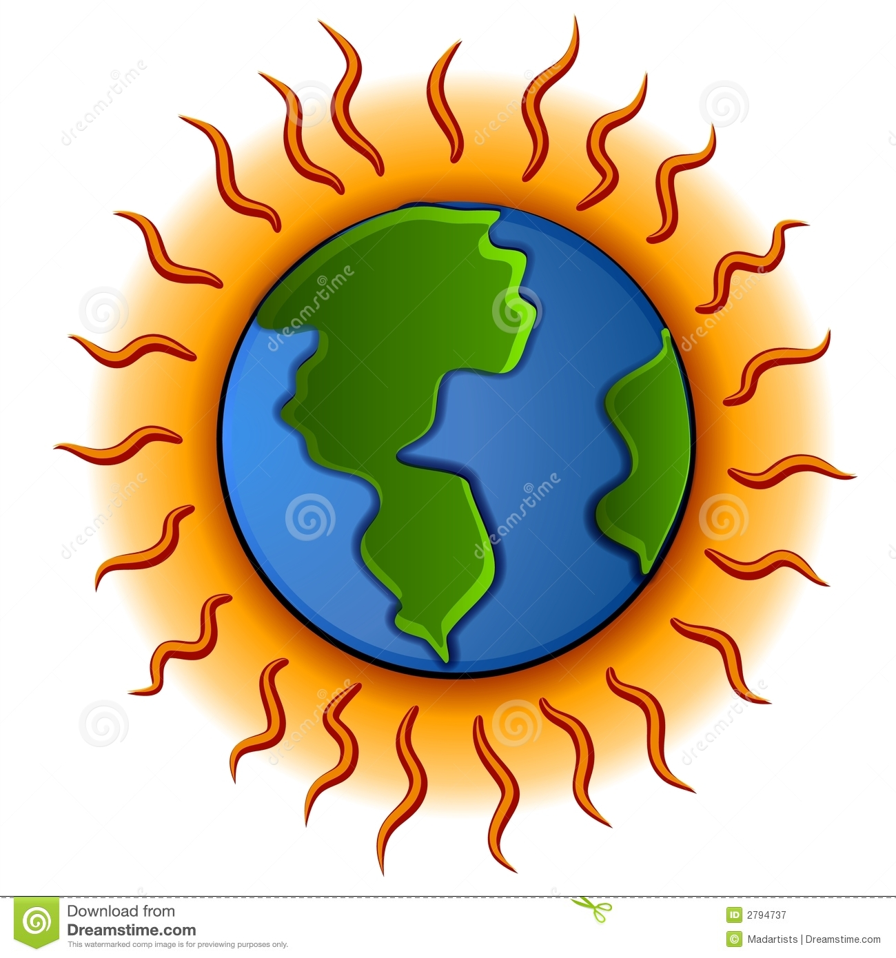 clip art illustration of the earth with a hot glowing ring and heat ...