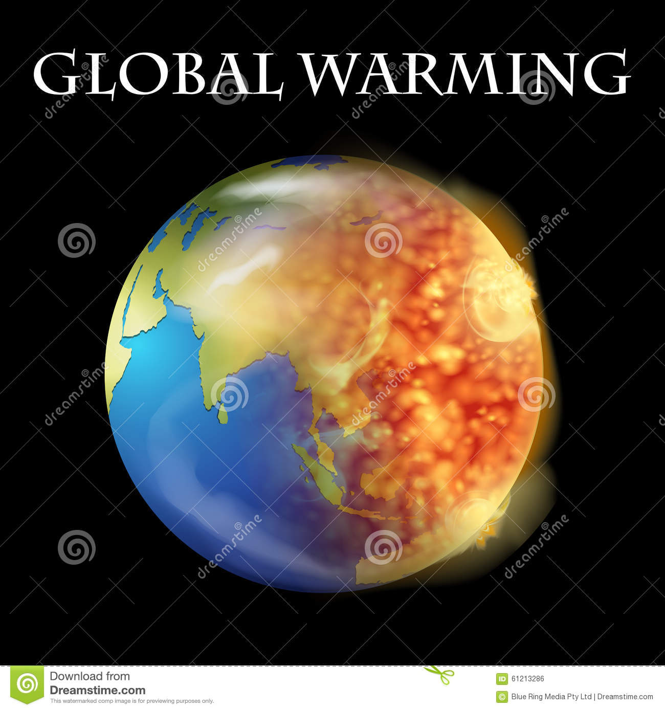 Global Warming Theme With Earth On Fire Stock Vector ...