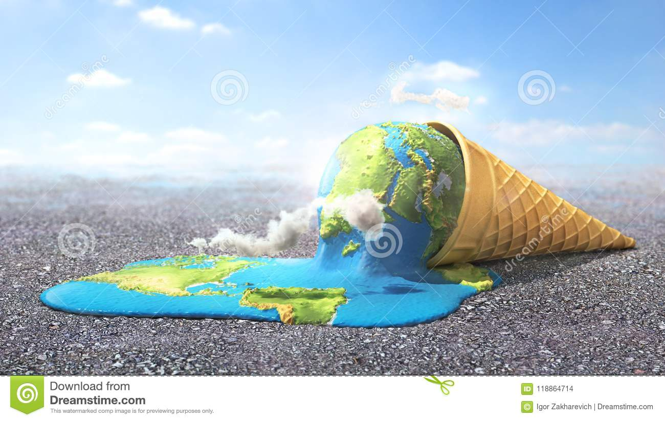 Global warning. Planet as melting ice cream under hot sun