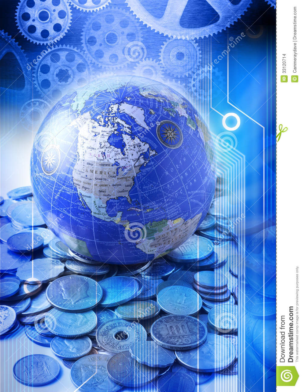 Business Globe Money Services Technology Stock Photo