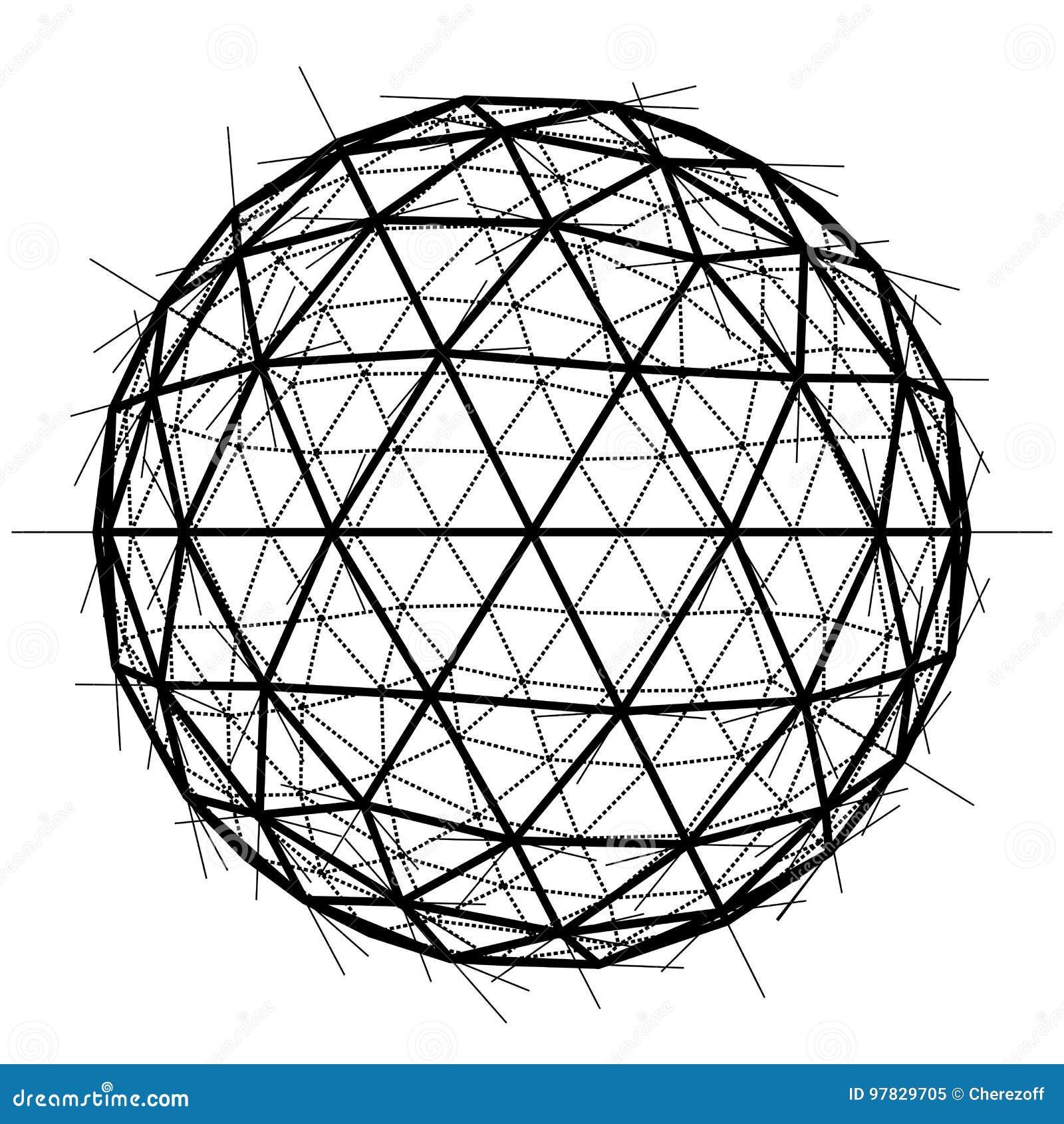 Global Wireframe Sphere. Vector EPS10 Stock Vector - Illustration of ...