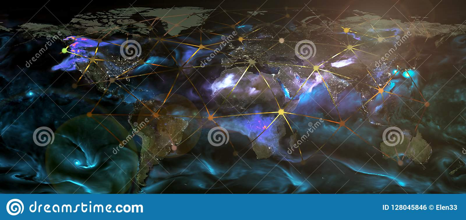 Global world telecommunication network connected