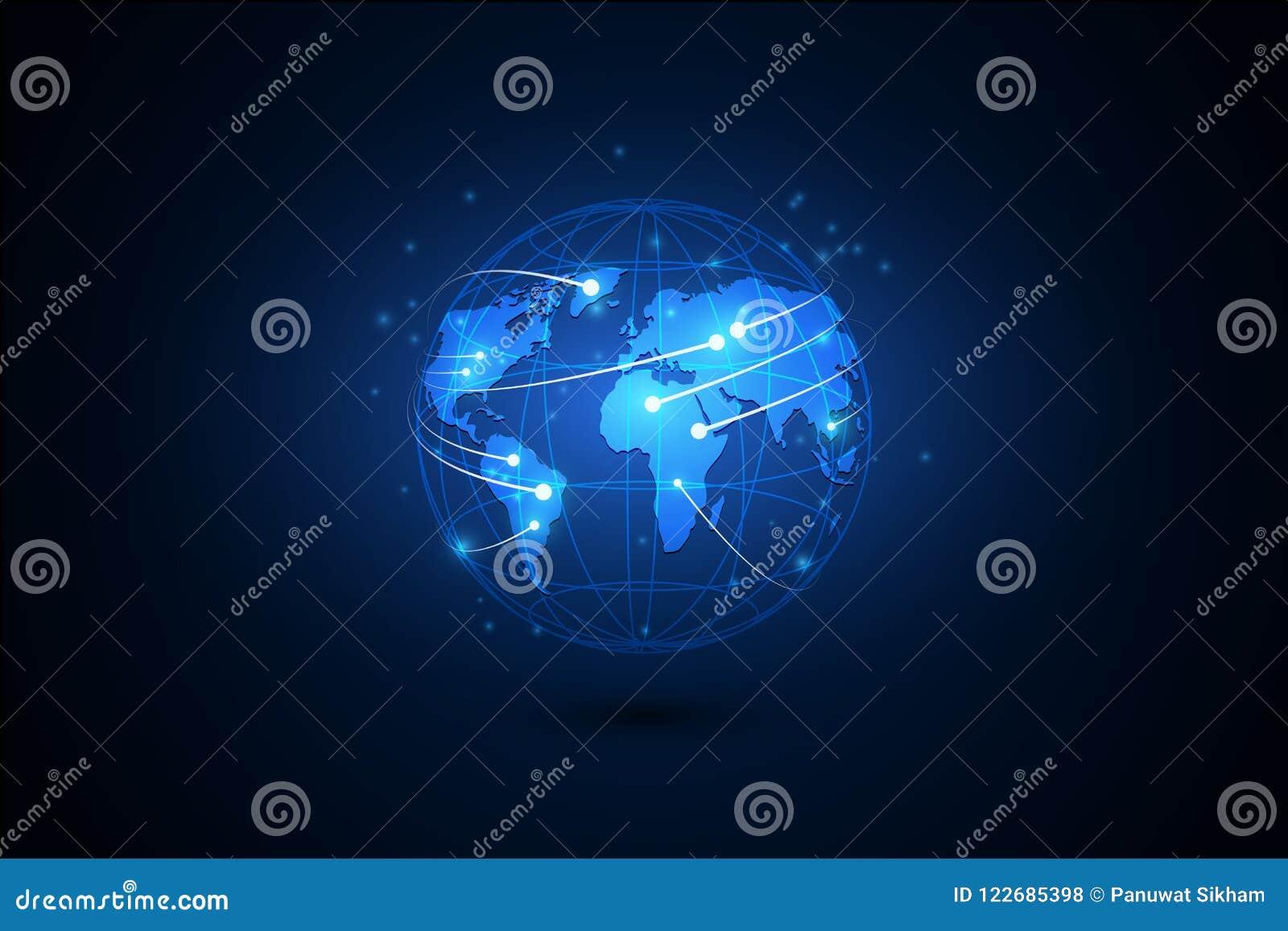 Globala internet för bäst affärsidé Jordklot glödande linjer nolla