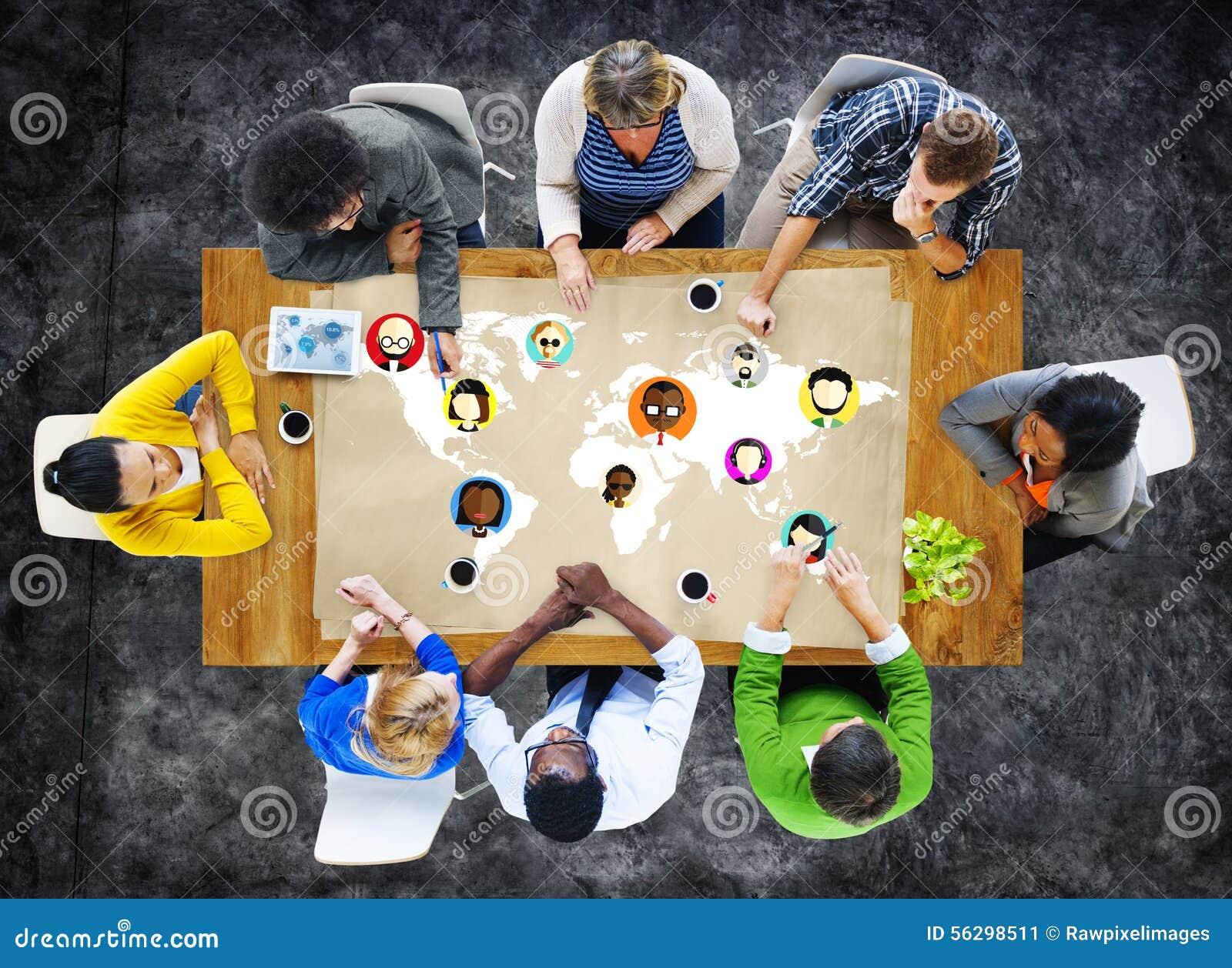 Globale Communautaire Sociale het Voorzien van een netwerkverbinding Conce van Wereldmensen
