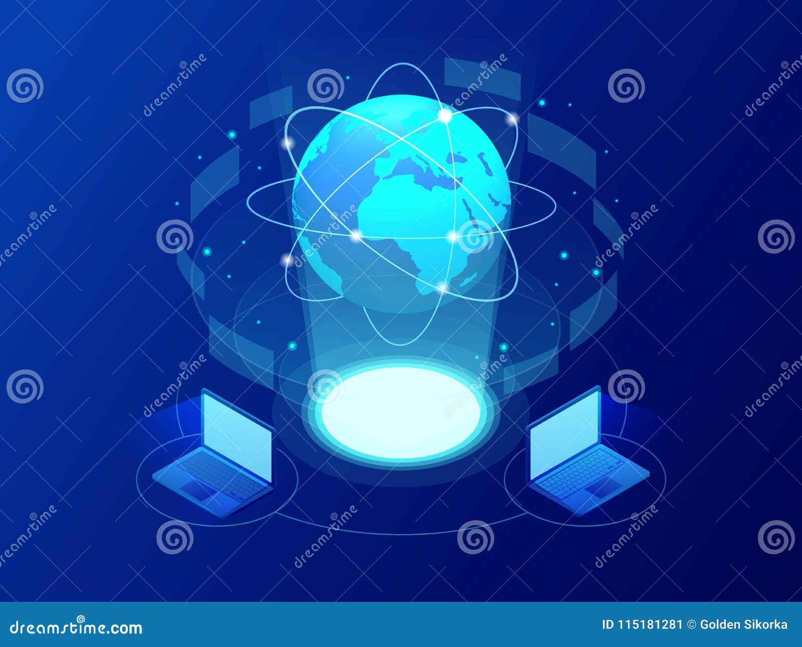 Globale Kommunikation Internet um den Planeten Netz- und Datenaustausch über Planeten Verbundene Satelliten für