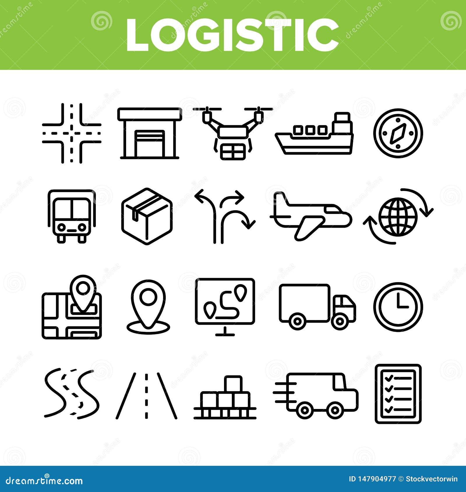 Globale logistische Abteilungs-linearer Vektor-Ikonen-Satz
