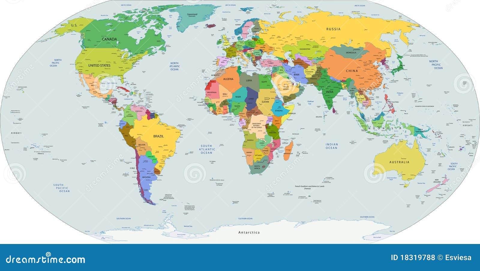 Globale Politische Karte Der Welt Vektor Vektor Abbildung