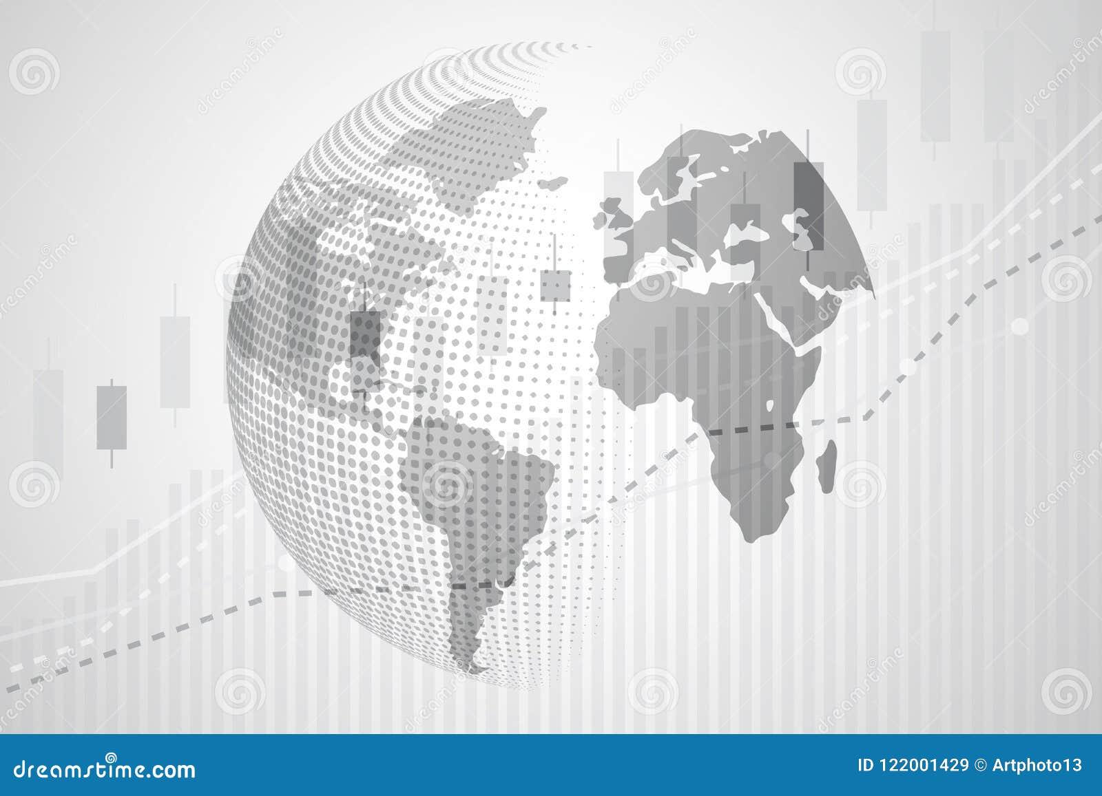 Globale wereldkaart van Digitale munt met de grafiekcha van de Kaarsstok
