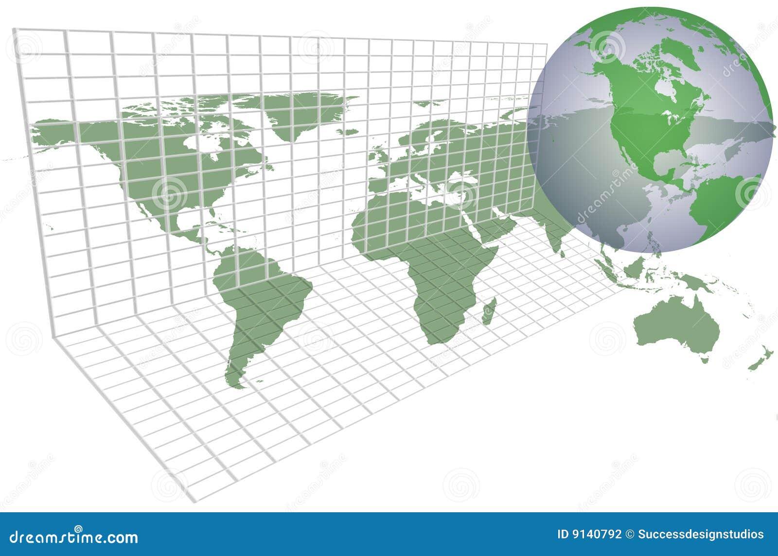 Globales Erdekartenrasterfeld
