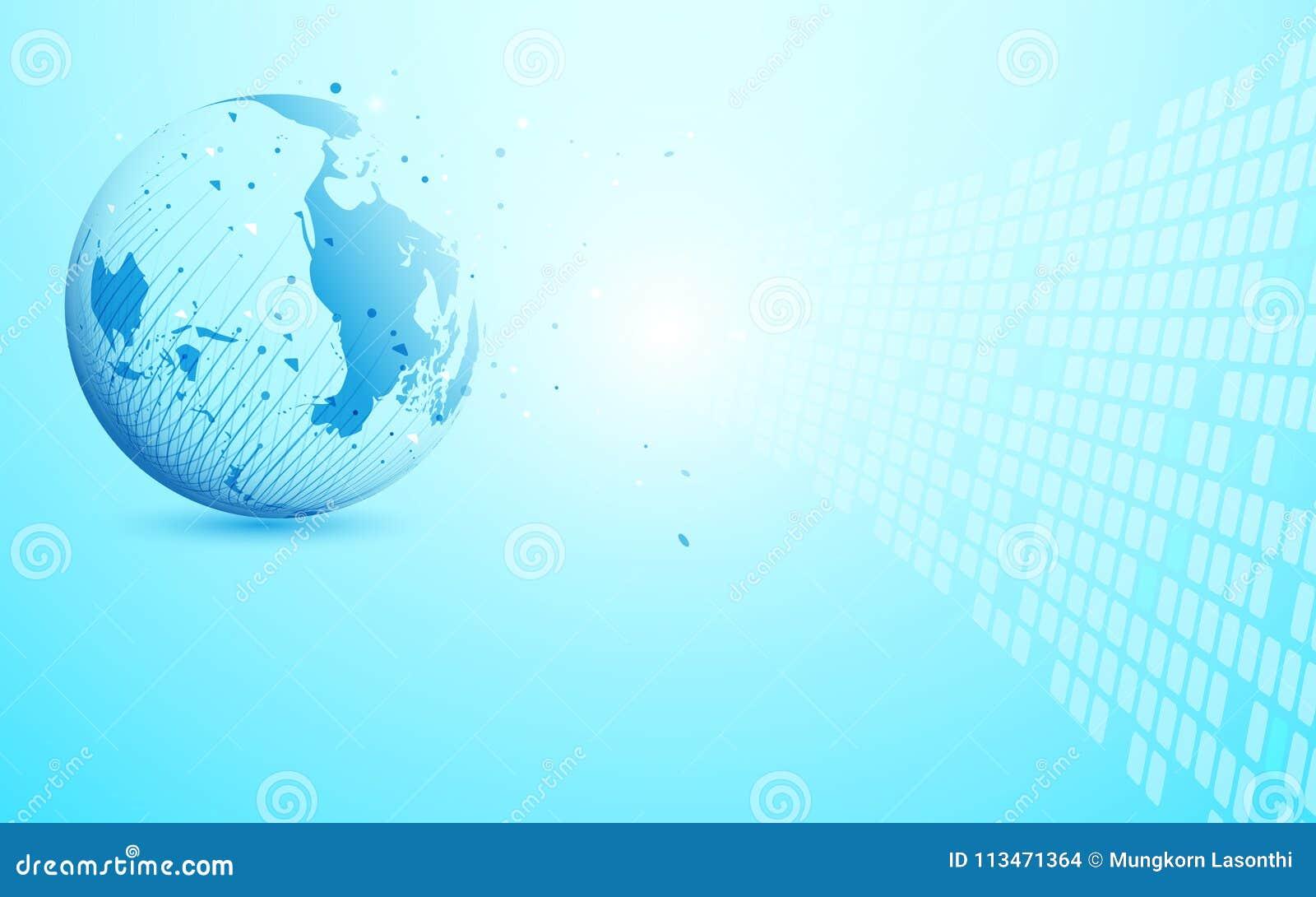 Globales Netzwerk mit Weltkartepunkt und Linien und Dreiecke, Verbindungsnetz des Punktes auf blauem Hintergrund Illustration Vek