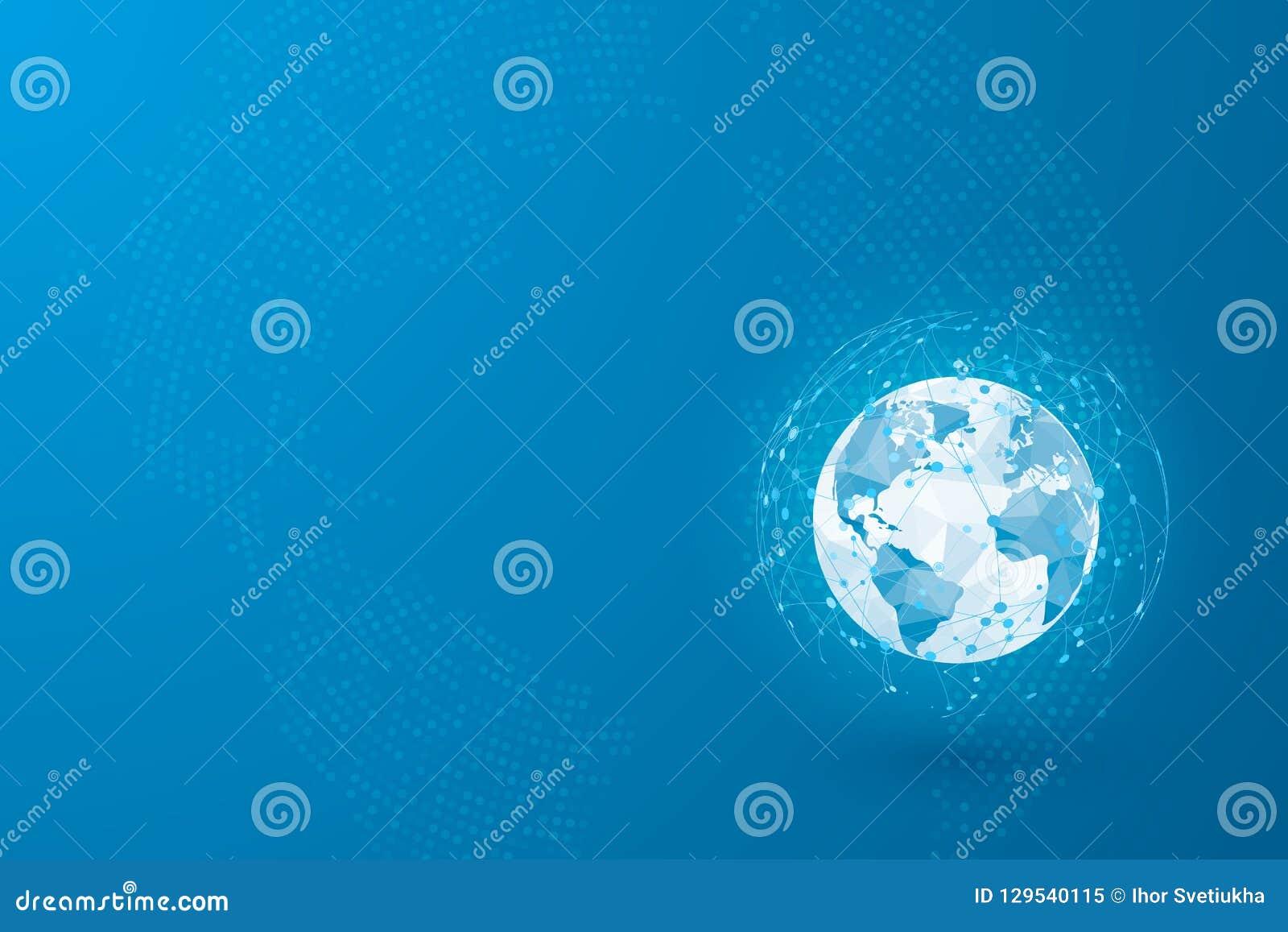 Globales Netzwerk Weltkartepunkt und Linien und Dreiecke Verbindungsnetz des Punktes Vektorillustration auf blauem Hintergrund
