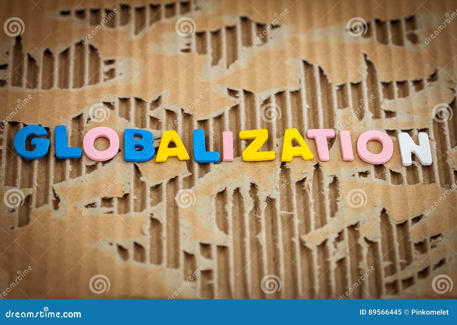 Globalisering die op samenvatting gescheurd karton verwoorden