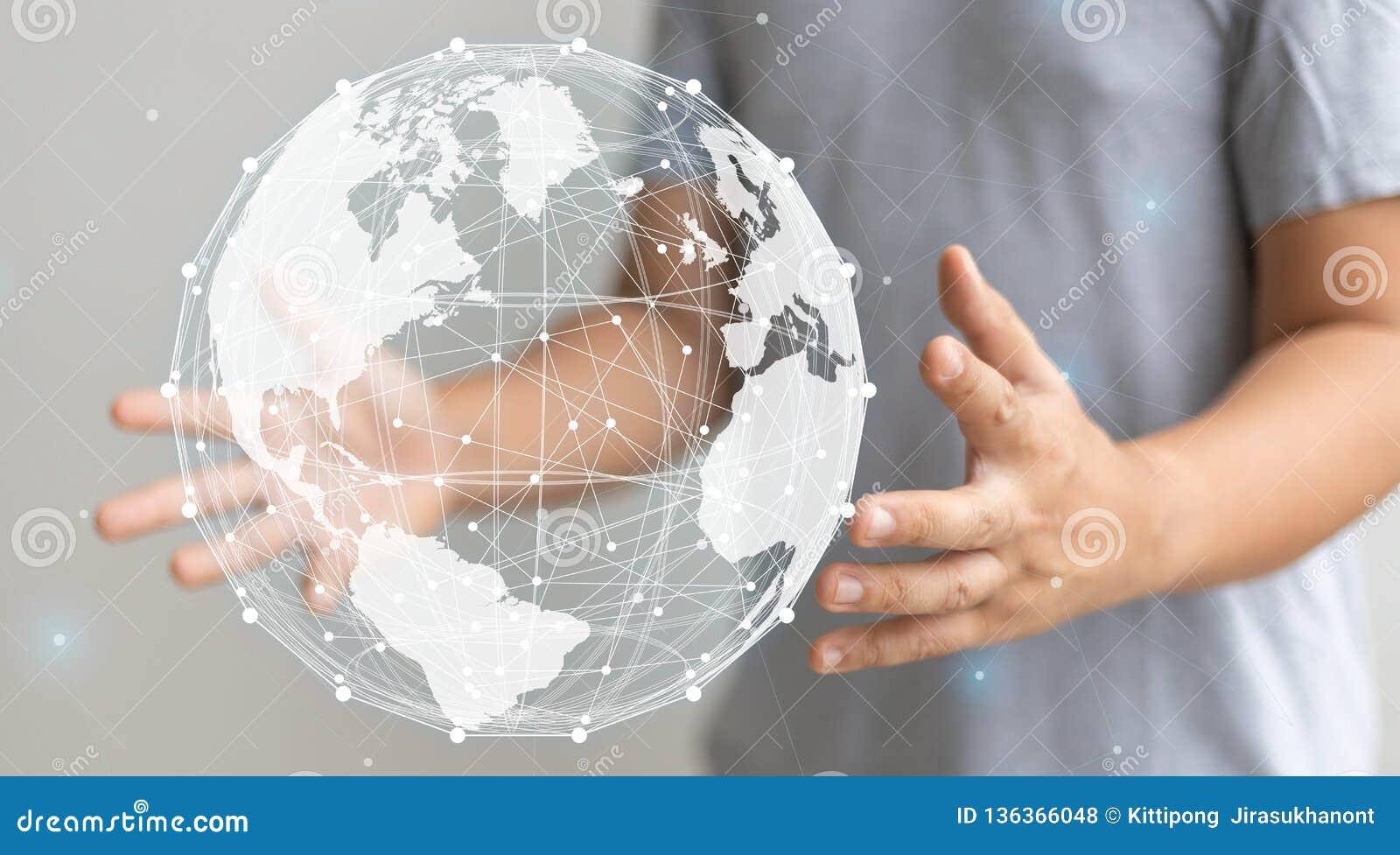 Hand present world graphic