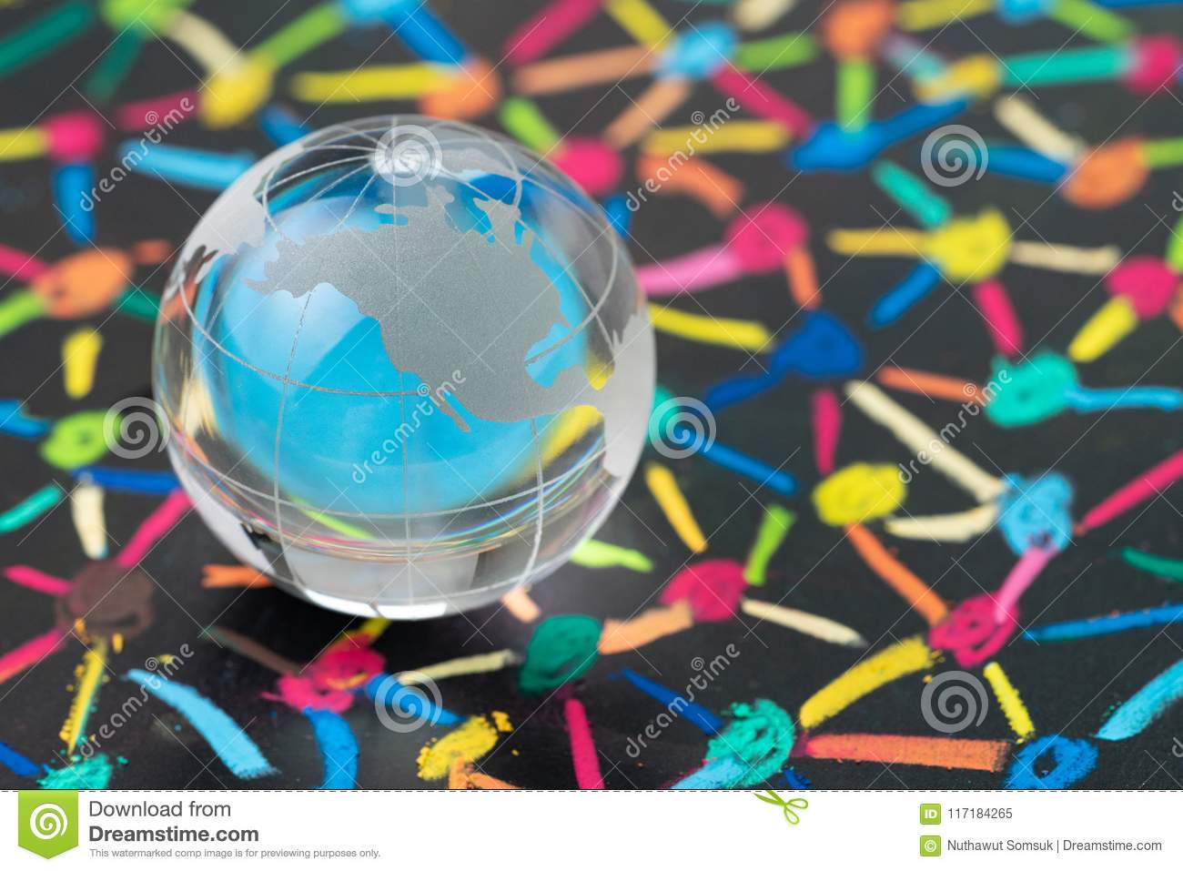 Globalization, social network or connectivity world concept, small decoration globe with colorful pastel link and connect chalk l