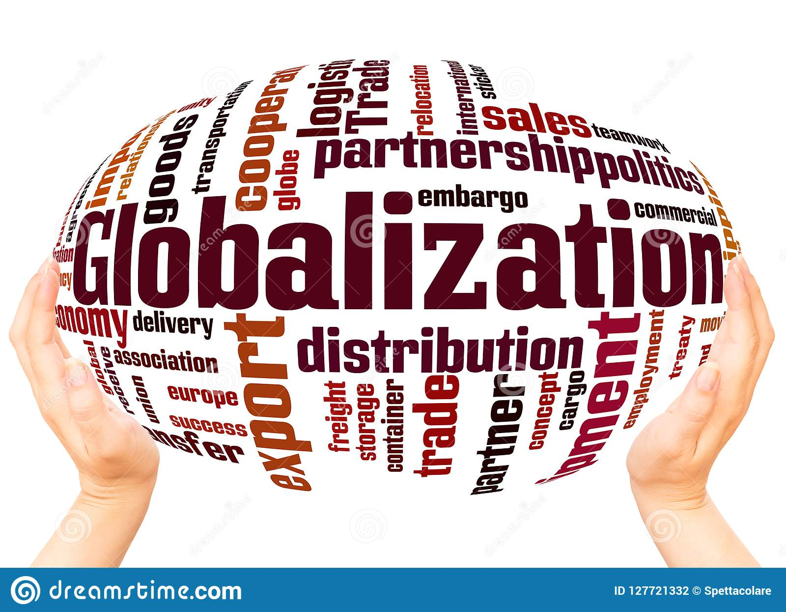 Globalization Word Cloud Hand Sphere Concept Stock
