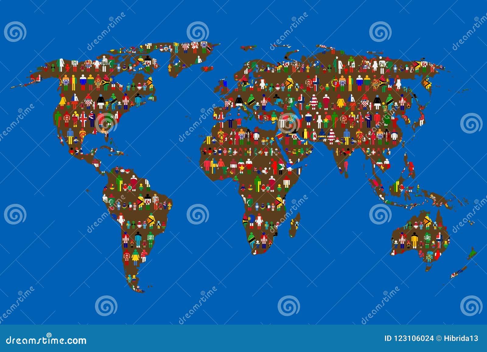 Globalizing concept Wereldkaart met mensen van vlaggen wordt gemaakt die