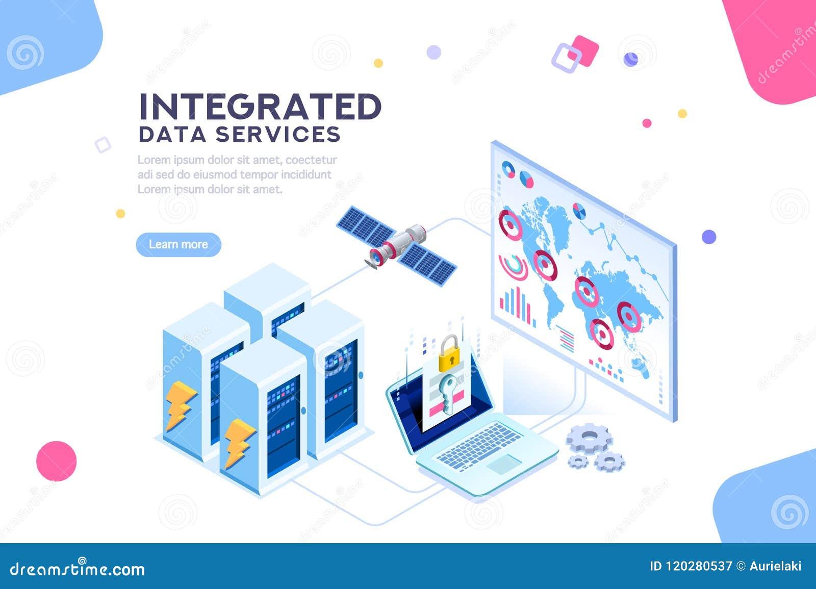 Globalna dane centrum energia Przyszłościowy Isometric sztandar