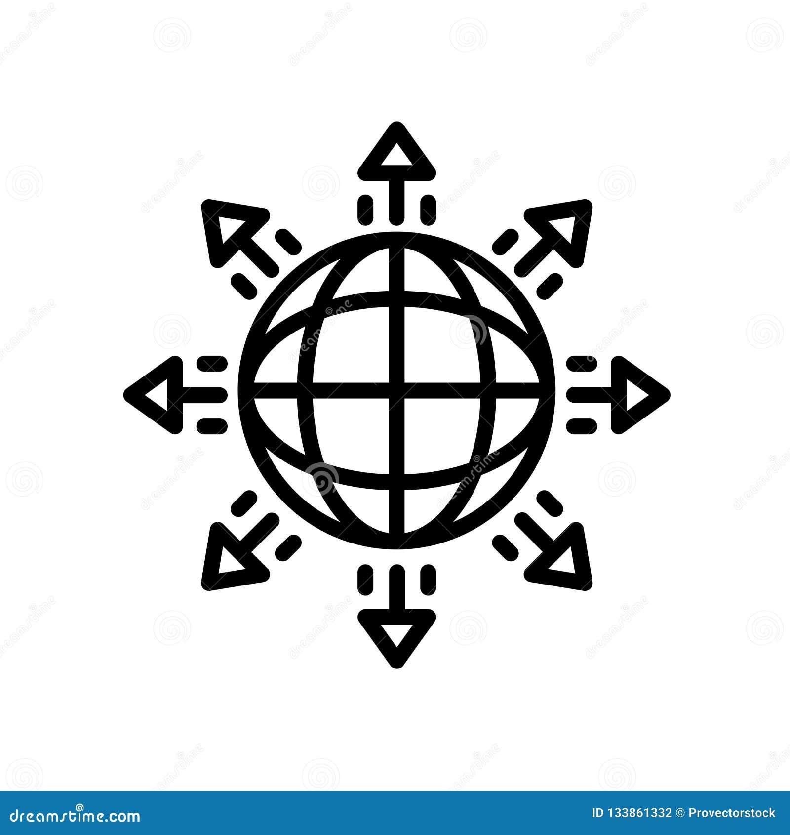 Globalna ekspansji ikona odizolowywająca na białym tle