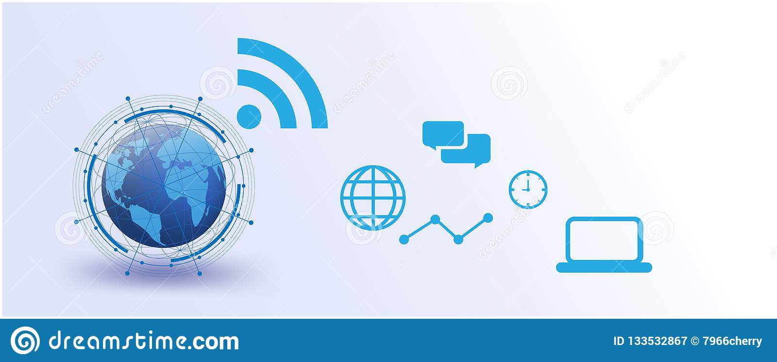 Globalna sieć, internet rzeczy Wektorowy futurystyczny, system, związki, networking futurystyczni ogólnospołeczni środki komunika