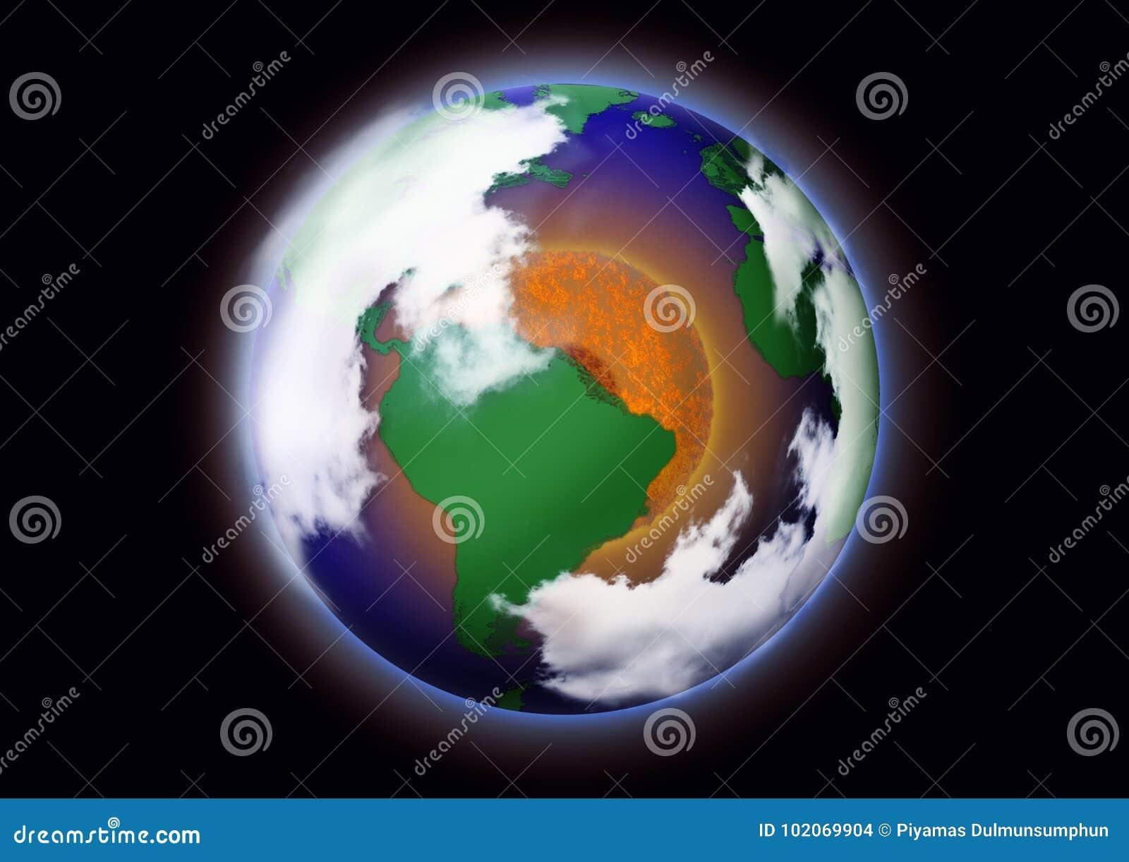 Globalne ocieplenie pojęcia Obrazek ziemia z czerwonym okręgiem