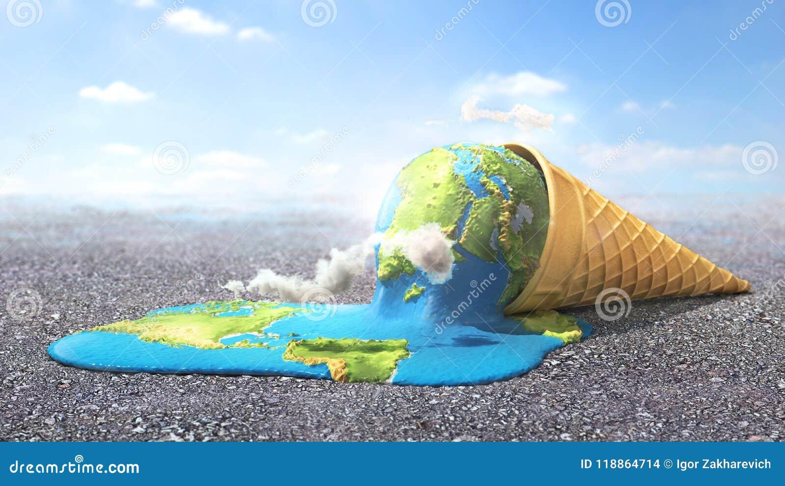 Globalne ostrzeżenie Planeta jako roztapiający lody pod gorącym słońcem