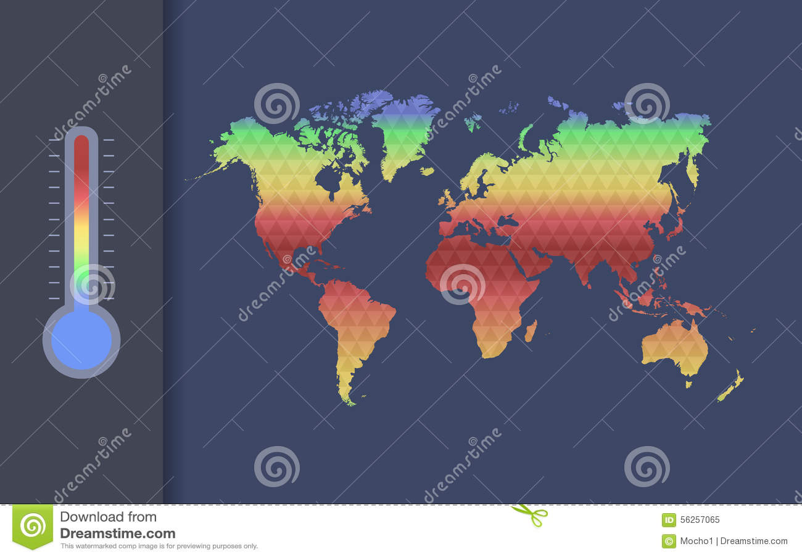 Globalnego nagrzania wektoru pojęcie Globalna klimat mapa świat